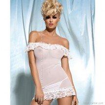Átlátszó fehér csipkés hálóing, Amoresa Corset